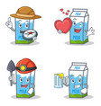 set of milk box character with explorer heart vector image vector image