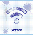 sketch line wi-fi wireless internet network symbol vector image vector image