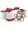 teddy bear and flowers vector image vector image