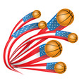 usa shape flag with basketball vector image