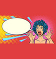 woman panic fear surprise gesture girls 80s vector image vector image