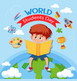 world student day icon vector image vector image