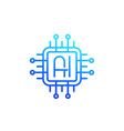 ai chipset logo artificial intelligence line icon