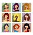 avatars business women flat icons set isolated on vector image