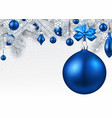 background with blue 3d christmas ball vector image vector image