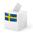 Ballot box with voicing paper Sweden vector image vector image