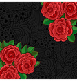 Black background with red roses and leaves vector image