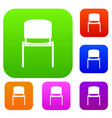 black office chair set color collection vector image vector image