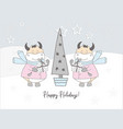 bulls in snow greeting card pastel delicate vector image vector image