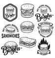 burgers and sandwiches handwritten lettering logo vector image