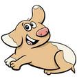 cartoon happy cute puppy animal character vector image vector image