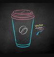 chalk drawn coffee paper cup vector image