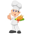 Chef cartoon with roasted chicken vector image vector image