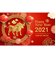 chinese new year 2021 greeting card background vector image vector image