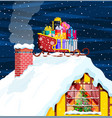 christmas santa claus sleigh with gifts boxes vector image