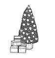 christmas tree sketch engraving vector image vector image