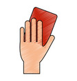 color pencil cartoon hand with red card vector image vector image