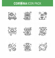 covid19-19 icon set for infographic 9 line pack vector image vector image