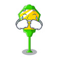 crying street lamp post in shape cartoon vector image