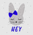 cute rabbit in sequins bunny cute print vector image vector image