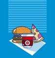 delicious food on tablecloth vector image