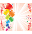 festive balloons and light-burst vector image