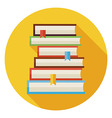 Flat Books with Bookmarks Circle Icon with Long vector image vector image
