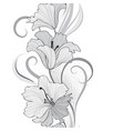 floral seamless pattern flower lily border vector image vector image