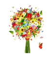 Four seasons bouquet with leaf and flowers for vector image vector image
