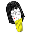 girl with black short hair and glasses on white vector image vector image