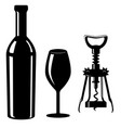 glass and bottle of wine with corkscrew black vector image