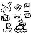 grunge travel icons set hand drawn vector image