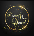 happy new year card golden typography in circle vector image vector image