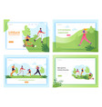 healthy lifestyle running people landing page vector image