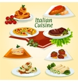 Italian cuisine dinner icon with popular dishes vector image vector image