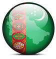 Map on flag button of Turkmenistan vector image vector image