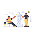 men on robot presentation vector image vector image