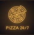 pizza neon light icon vector image
