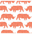 rhinoceros red paper origami seamless pattern vector image vector image