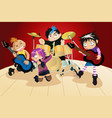 rock band of four little kids vector image