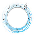 round frame with music notes on scales vector image vector image