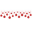 set christmas balls hanging on white background vector image vector image