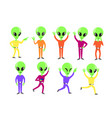 set happy green aliens vector image