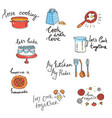 set of drawn labels of kitchen utensils and food vector image