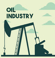 silhouette pump jack production oil industry vector image