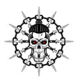 skull and knife vector image vector image
