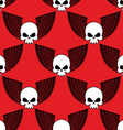 Skull with wings seamless pattern Background of vector image vector image
