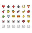 slot machine symbols and casino colorful icon set vector image