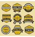 Taxi cab set insignia vintage style vector image vector image