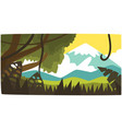 tropical jungle and mountain background tropical vector image vector image